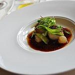 【前菜2】ホタテ♡美味しくてもっと食べたいホタテ。わさび風味ですが全然辛みもないので、風味だけみたい。