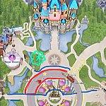 赤:ロープ、青:通路、黄色:パレードルート、紫:予約席。最初ハートの位置にいましたがパレードが始まって人が詰まったので星の位置になりました!