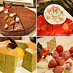 チョコレートケーキ、レアチーズケーキ、抹茶のシフォン、ストロベリーショートケーキ。