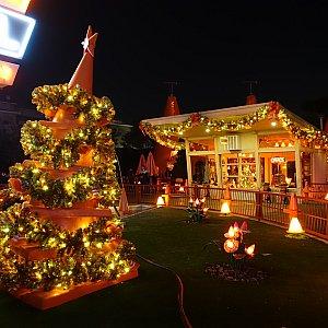 夜のコージーコーンモーテルは最高です。コーンで作ったクリスマスツリー。