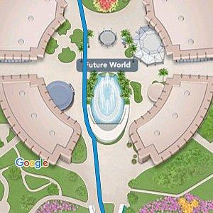 WDWアプリで行き先を登録すれば、目的地までの道のりが出て便利でした。