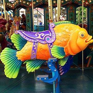 カラフルだけど少々不気味な(笑)海の動物達に乗ります。