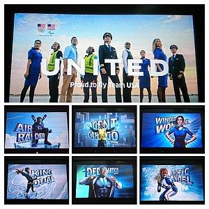 機内アナウンスの映像がオリンピック仕様に。アメコミ風で面白かったです。