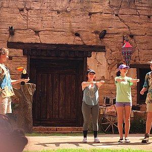 ゲスト参加型でいくつか鳥が曲芸をしてくれます。こちらはオウムがゲストの腕を飛び越えていく芸です。