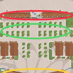 赤色はパーク入口🎪 緑色はゴミ箱エリア(横入りに注意⚠️) 黄色はセキュリティ👮