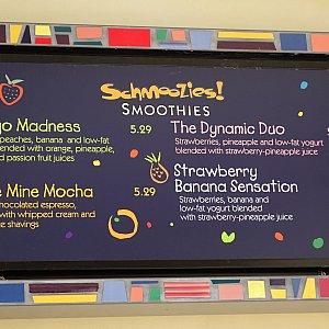 Schmooziesのメニュー表