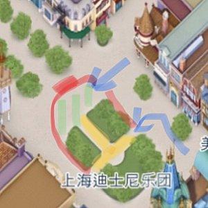 赤いラインで鑑賞 濃い赤が正面センター 青い矢印がキャラ出入り口 黄色と緑の斜線が舞台