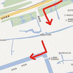 S1を唐黄路出口で降りて唐黄路を左折します。 唐黄路を真っすぐ進み、探索路を右折します。