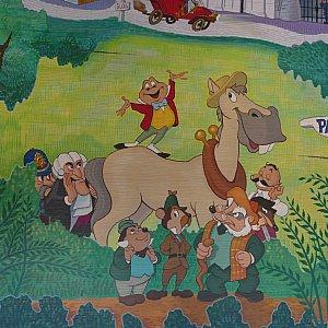 この馬がトード氏の悪友!下にいる三人が親友たちで右のバーテンダーに裏切られトード氏は逮捕されてしまいます