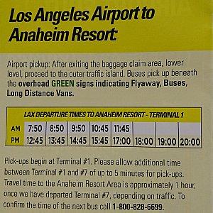 ロサンゼルス空港発の時刻表です。