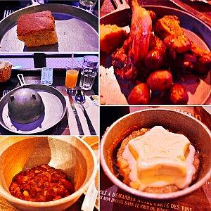 鑑賞しながらの食事は結構忙しかったです。 お料理は、ボリュームがありチリビーンズは見た目に反して美味しかったです。最後のホットアップルのアイスクリーム乗せは、急いで食べて終了!
