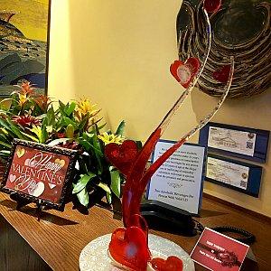 当日はバレンタインデーだったのでスペシャルキャンディーアートがウェイティングエリアに飾られていました。