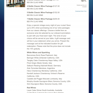ワインパッケージについてはこちらのページから詳細が確認できます。 https://disneycruise.disney.go.com/gifts-and-amenities/