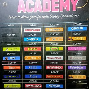 アニメーション・アカデミーのスケジュール表。こんなに種類があるなんてビックリ!