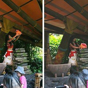 その貝殻を村長の石に置いてモアナは満面の笑みで村人たちの下へ戻り、