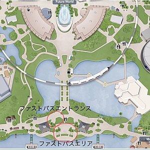 ファストパスエリアとエリアエントランスの位置 地図の上が「Future World」です。