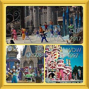 25周年のキャッスルショーを見てきたなかでの順位①WDW  お城がケーキが魅力②TDL25周年ロゴがお城にあって好き③DLP 25周年ロゴがお城にない!お城正面でのショーじゃないダッフィーに唯一会えた❤️