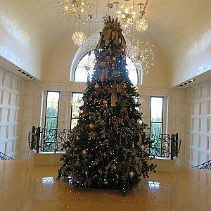 入ると目の前にクリスマスツリーがありました。レストランは右に進みます。