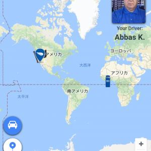 ドライバーさんの顔写真付き。広域過ぎる地図!大丈夫、拡大出来ます。 この段階でお迎え時間が変わったと驚く!が、間違いだったようです。