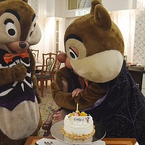 エンチャッテッドガーデンでバースデーケーキ無料のクーポンを使えばキャラクターと一緒にお祝いできます!同じくバースデー特典であるホテルのレストラン2名以上で1名無料と併用できるので、2人で行って1人分の料金でケーキまでついてくる感じに!