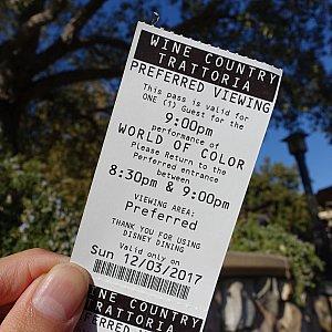 ダイニングパッケージでもらえるチケット。入場開始は8:30ですが、濡れないエリア希望なら8:00を目安に向かった方が良さそうな雰囲気でした。