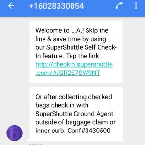 ロサンゼルス空港に到着したら、ショートメールが届いていました。