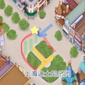赤いラインが鑑賞出来るエリア 青い矢印はキャラの出入口 緑のエリアと黄色のエリアが舞台になります 今回は☆の辺りで見ました