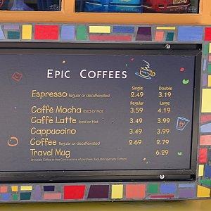Schmooziesにて。コーヒー類もありました。