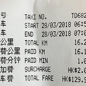 赤タクシー エクスプローラーズロッジ→香港国際空港第1ターミナル