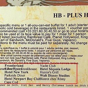赤で囲ったところが指定レストラン。 ランチでもディナーでもOK、選択肢がなかなか良好。