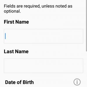 """上の画面で""""Create an Account""""を選択すると、①名前②名字③生年月日…"""